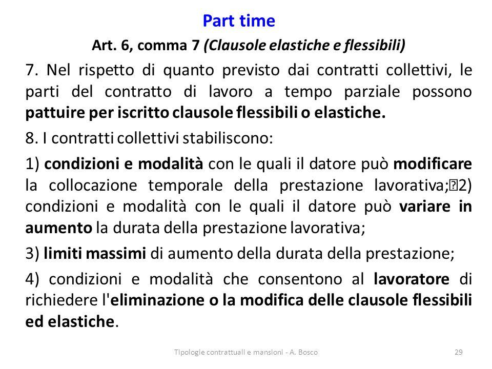 Part time Art. 6, comma 7 (Clausole elastiche e flessibili) 7. Nel rispetto di quanto previsto dai contratti collettivi, le parti del contratto di lav