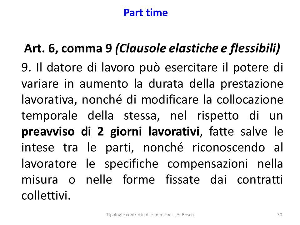 Part time Art. 6, comma 9 (Clausole elastiche e flessibili) 9. Il datore di lavoro può esercitare il potere di variare in aumento la durata della pres