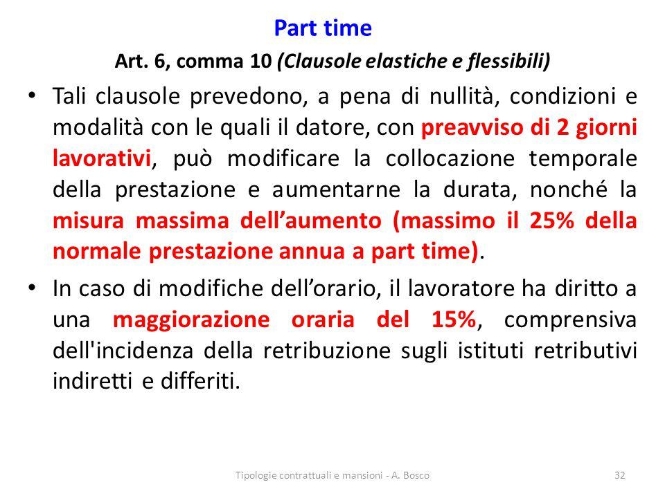 Part time Art. 6, comma 10 (Clausole elastiche e flessibili) Tali clausole prevedono, a pena di nullità, condizioni e modalità con le quali il datore,