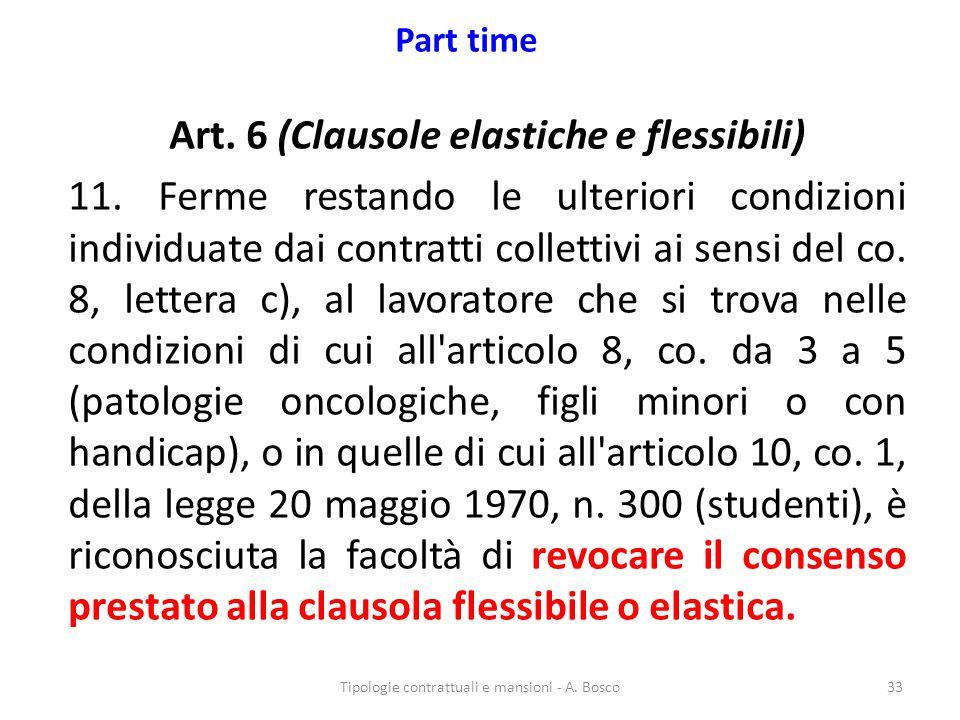 Part time Art. 6 (Clausole elastiche e flessibili) 11. Ferme restando le ulteriori condizioni individuate dai contratti collettivi ai sensi del co. 8,