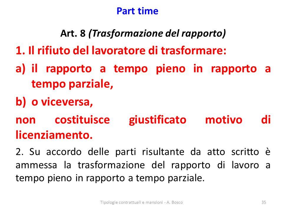 Part time Art. 8 (Trasformazione del rapporto) 1. Il rifiuto del lavoratore di trasformare: a)il rapporto a tempo pieno in rapporto a tempo parziale,