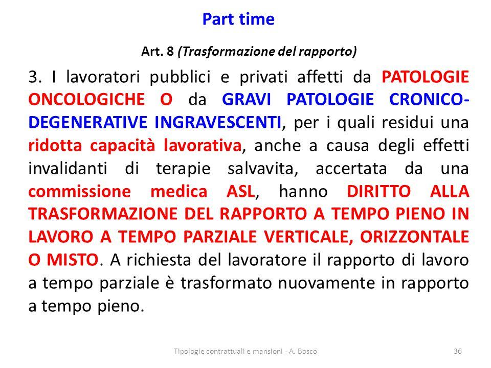 Part time Art. 8 (Trasformazione del rapporto) 3. I lavoratori pubblici e privati affetti da PATOLOGIE ONCOLOGICHE O da GRAVI PATOLOGIE CRONICO- DEGEN