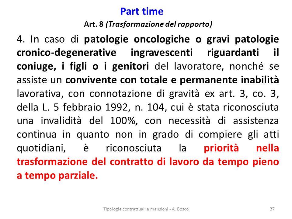 Part time Art. 8 (Trasformazione del rapporto) 4. In caso di patologie oncologiche o gravi patologie cronico-degenerative ingravescenti riguardanti il