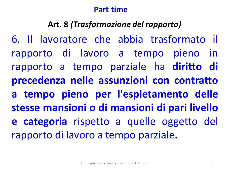 Part time Art. 8 (Trasformazione del rapporto) 6. Il lavoratore che abbia trasformato il rapporto di lavoro a tempo pieno in rapporto a tempo parziale