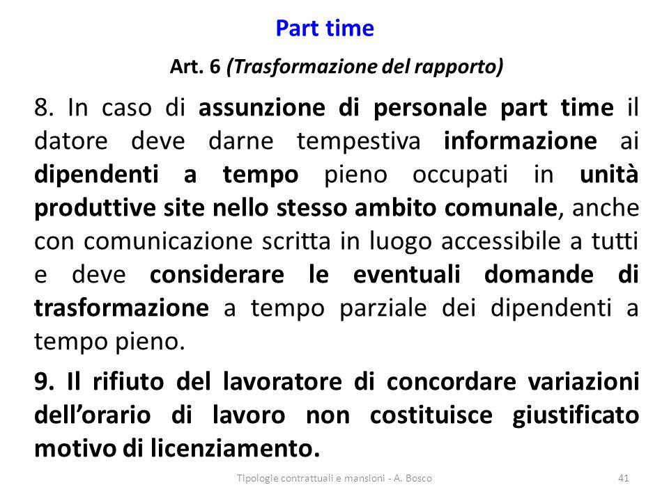 Part time Art. 6 (Trasformazione del rapporto) 8. In caso di assunzione di personale part time il datore deve darne tempestiva informazione ai dipende