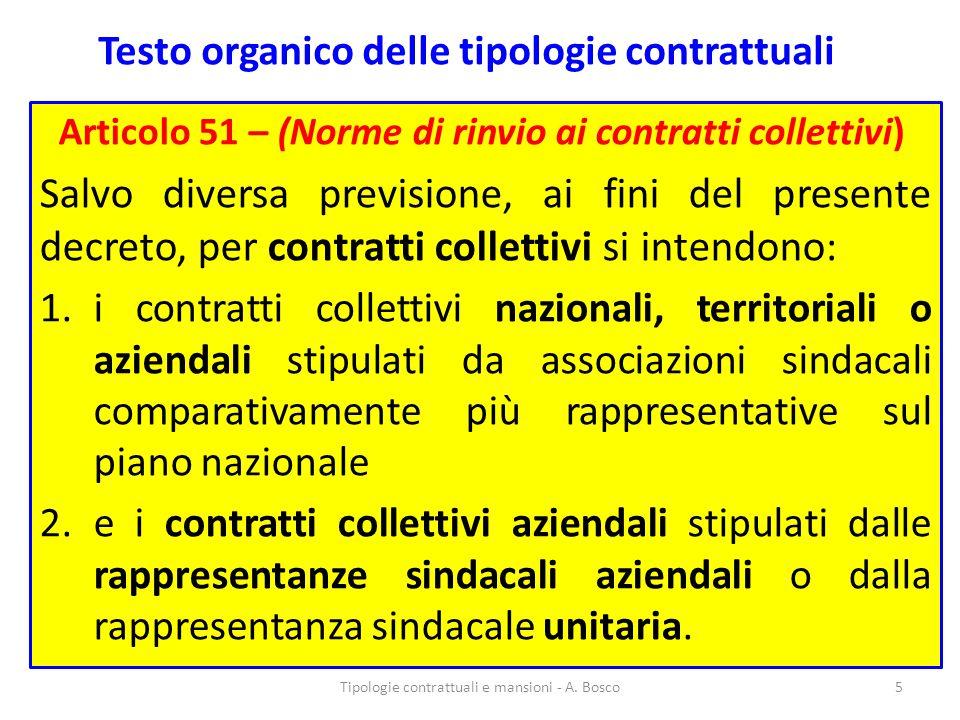 Testo organico delle tipologie contrattuali Articolo 51 – (Norme di rinvio ai contratti collettivi) Salvo diversa previsione, ai fini del presente dec