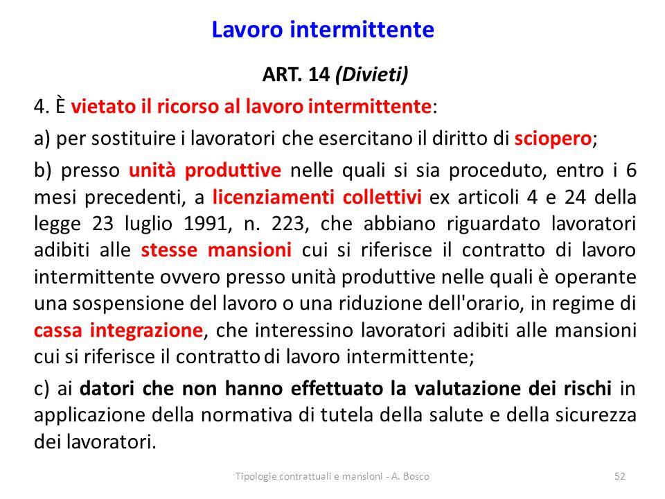 Lavoro intermittente ART. 14 (Divieti) 4. È vietato il ricorso al lavoro intermittente: a) per sostituire i lavoratori che esercitano il diritto di sc