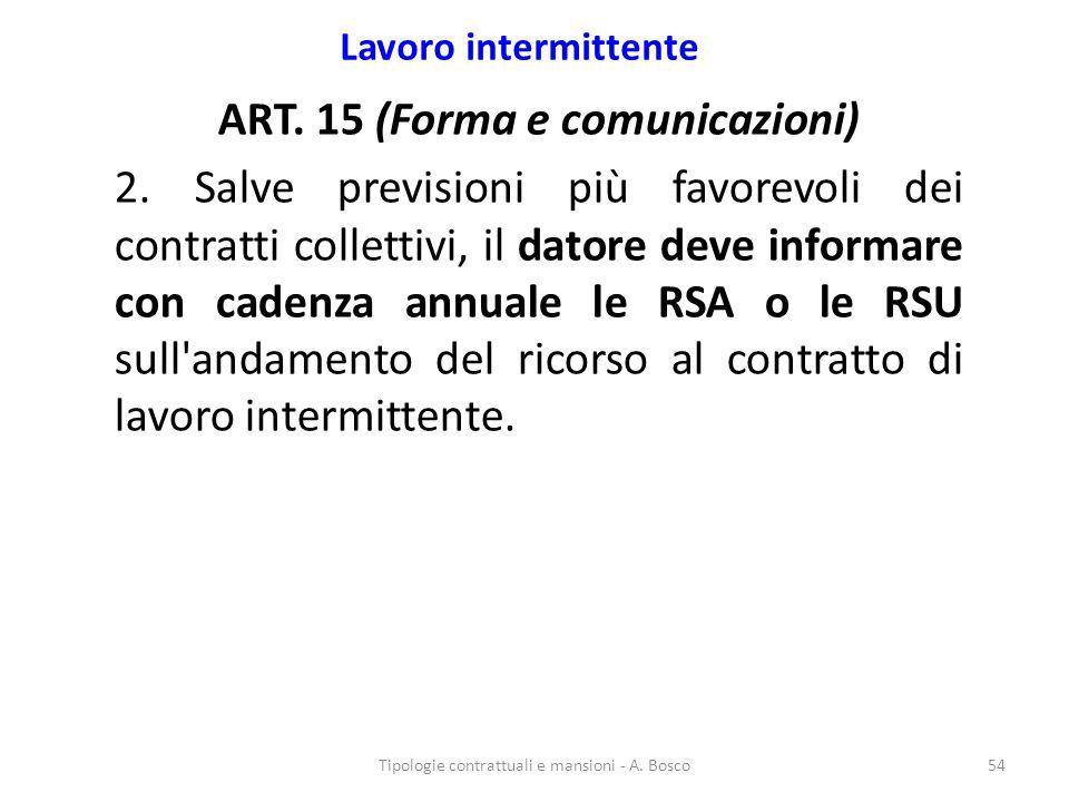 Lavoro intermittente ART. 15 (Forma e comunicazioni) 2. Salve previsioni più favorevoli dei contratti collettivi, il datore deve informare con cadenza