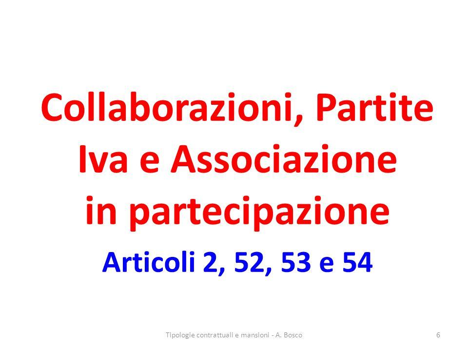 Collaborazioni, Partite Iva e Associazione in partecipazione Articoli 2, 52, 53 e 54 Tipologie contrattuali e mansioni - A.