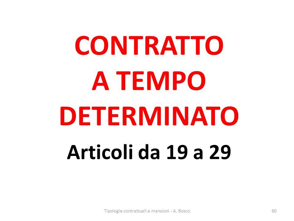 CONTRATTO A TEMPO DETERMINATO Articoli da 19 a 29 Tipologie contrattuali e mansioni - A. Bosco60