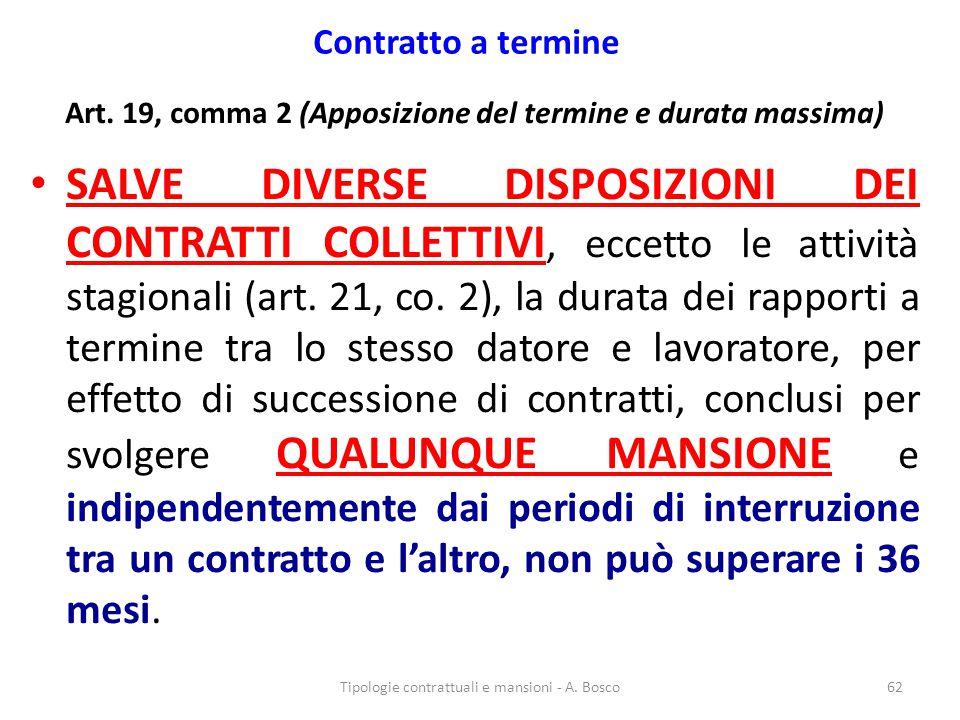Contratto a termine Art. 19, comma 2 (Apposizione del termine e durata massima) SALVE DIVERSE DISPOSIZIONI DEI CONTRATTI COLLETTIVI, eccetto le attivi