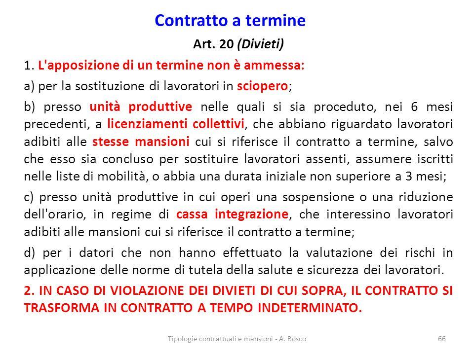 Contratto a termine Art. 20 (Divieti) 1. L'apposizione di un termine non è ammessa: a) per la sostituzione di lavoratori in sciopero; b) presso unità