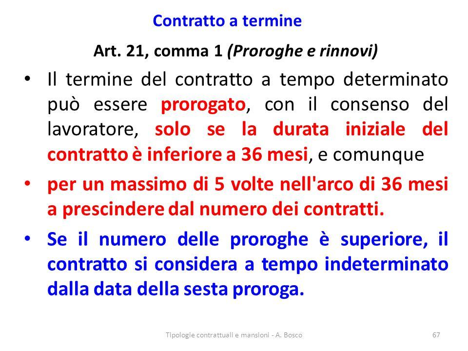 Contratto a termine Art. 21, comma 1 (Proroghe e rinnovi) Il termine del contratto a tempo determinato può essere prorogato, con il consenso del lavor