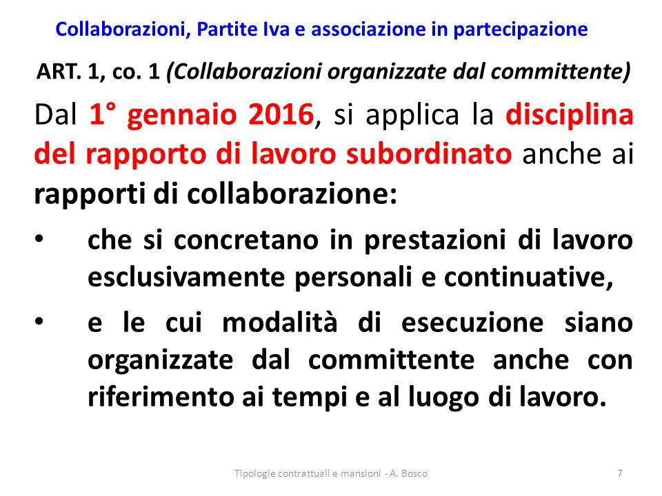 Collaborazioni, Partite Iva e associazione in partecipazione ART. 1, co. 1 (Collaborazioni organizzate dal committente) Dal 1° gennaio 2016, si applic