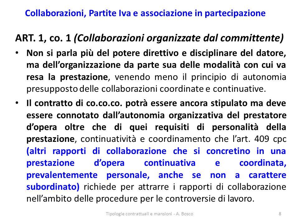Collaborazioni, Partite Iva e associazione in partecipazione ART. 1, co. 1 (Collaborazioni organizzate dal committente) Non si parla più del potere di