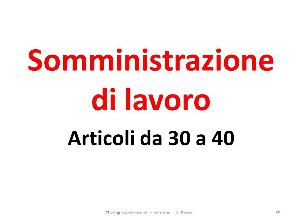 Somministrazione di lavoro Articoli da 30 a 40 Tipologie contrattuali e mansioni - A. Bosco85