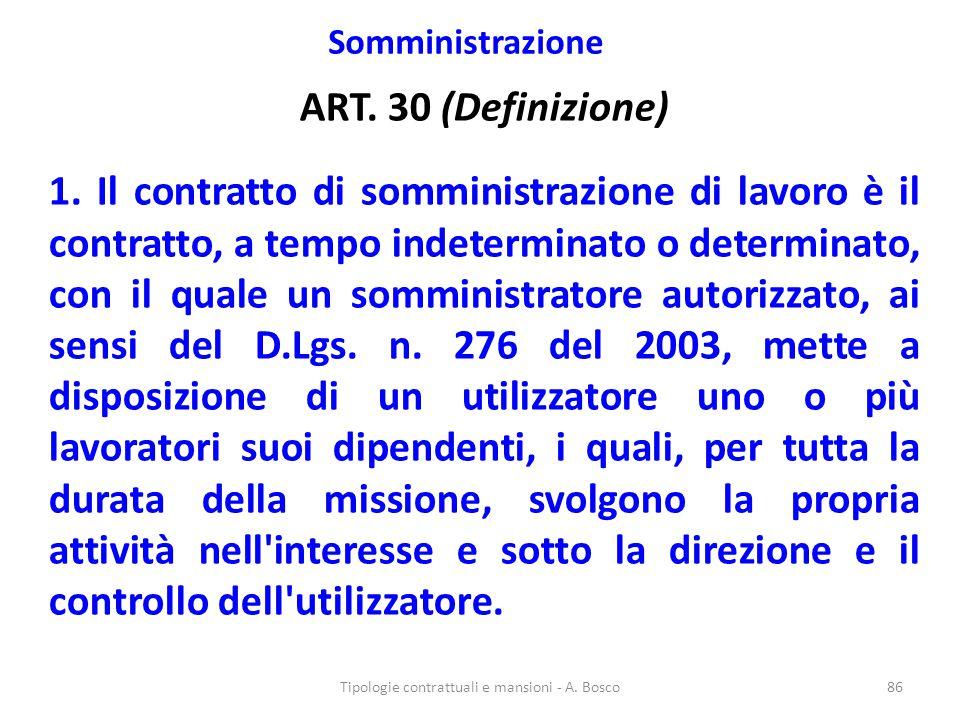 Somministrazione ART. 30 (Definizione) 1. Il contratto di somministrazione di lavoro è il contratto, a tempo indeterminato o determinato, con il quale