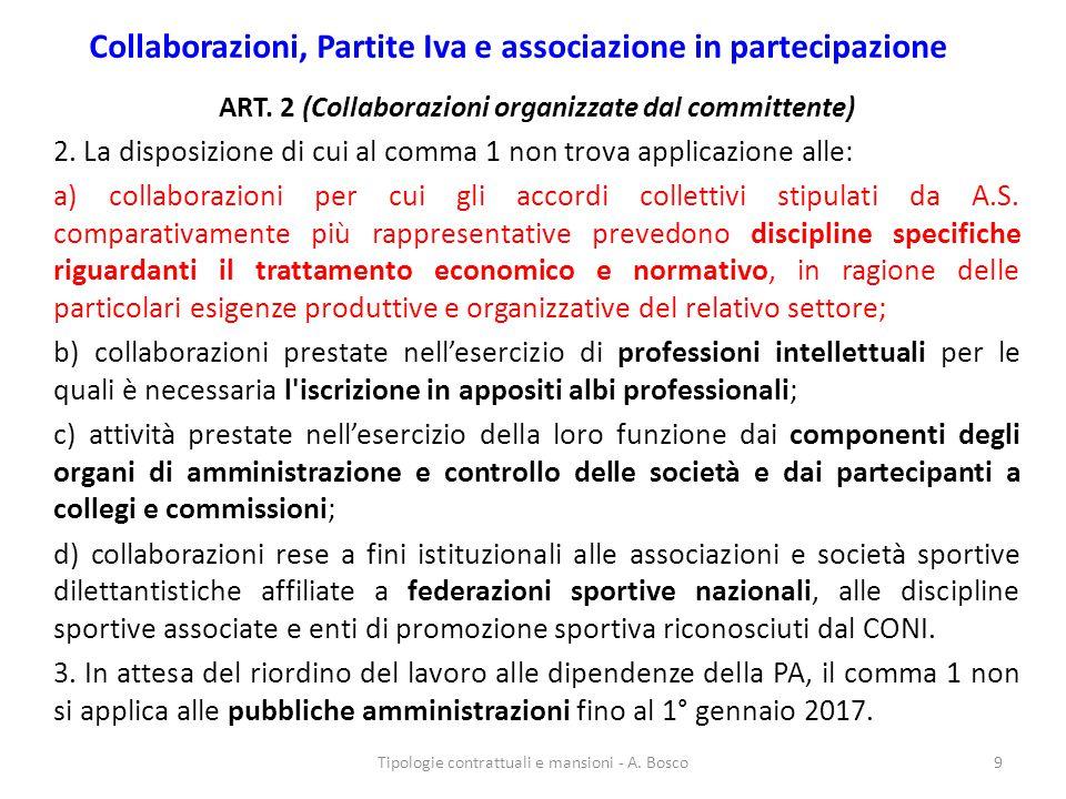 Collaborazioni, Partite Iva e associazione in partecipazione ART. 2 (Collaborazioni organizzate dal committente) 2. La disposizione di cui al comma 1