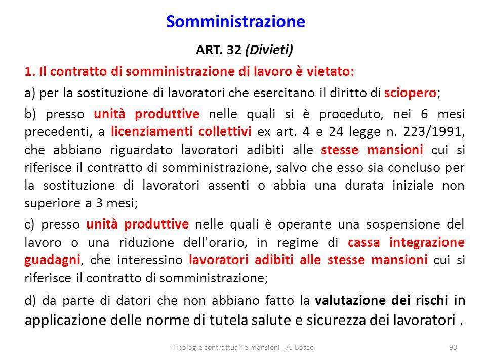 Somministrazione ART.32 (Divieti) 1.
