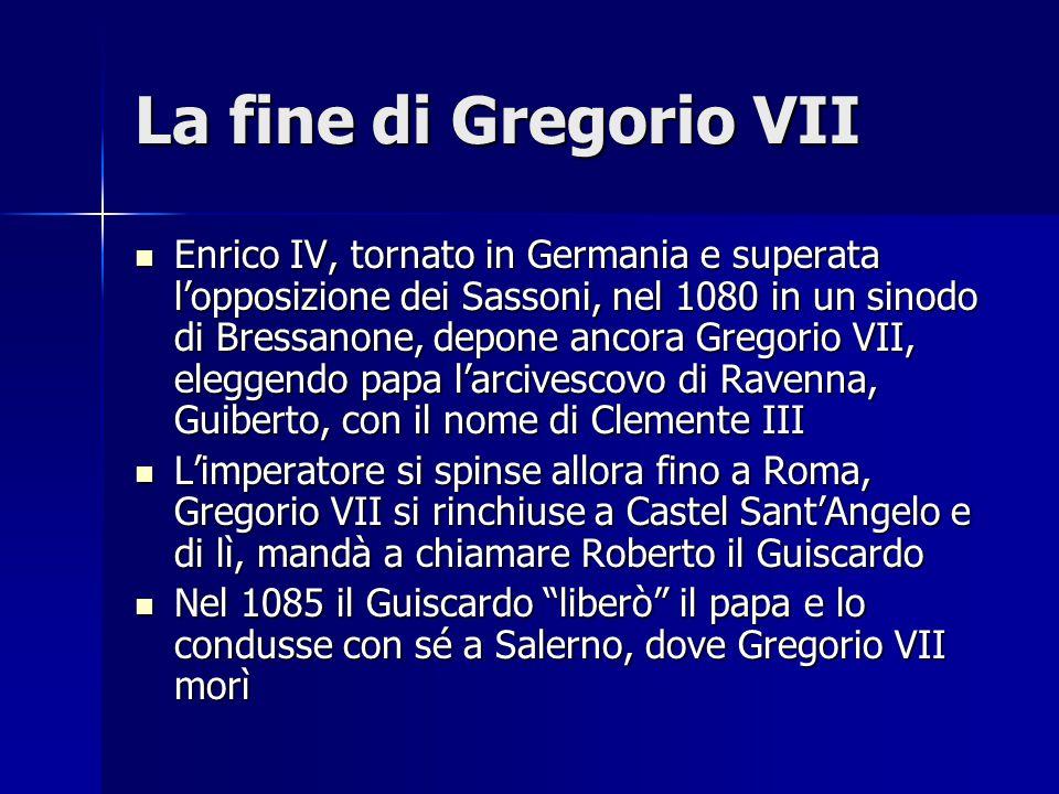 La fine di Gregorio VII Enrico IV, tornato in Germania e superata l'opposizione dei Sassoni, nel 1080 in un sinodo di Bressanone, depone ancora Gregor