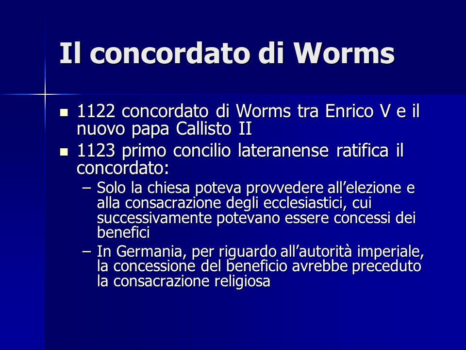 Il concordato di Worms 1122 concordato di Worms tra Enrico V e il nuovo papa Callisto II 1122 concordato di Worms tra Enrico V e il nuovo papa Callist