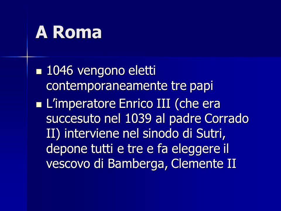 La fine di Gregorio VII Enrico IV, tornato in Germania e superata l'opposizione dei Sassoni, nel 1080 in un sinodo di Bressanone, depone ancora Gregorio VII, eleggendo papa l'arcivescovo di Ravenna, Guiberto, con il nome di Clemente III Enrico IV, tornato in Germania e superata l'opposizione dei Sassoni, nel 1080 in un sinodo di Bressanone, depone ancora Gregorio VII, eleggendo papa l'arcivescovo di Ravenna, Guiberto, con il nome di Clemente III L'imperatore si spinse allora fino a Roma, Gregorio VII si rinchiuse a Castel Sant'Angelo e di lì, mandà a chiamare Roberto il Guiscardo L'imperatore si spinse allora fino a Roma, Gregorio VII si rinchiuse a Castel Sant'Angelo e di lì, mandà a chiamare Roberto il Guiscardo Nel 1085 il Guiscardo liberò il papa e lo condusse con sé a Salerno, dove Gregorio VII morì Nel 1085 il Guiscardo liberò il papa e lo condusse con sé a Salerno, dove Gregorio VII morì