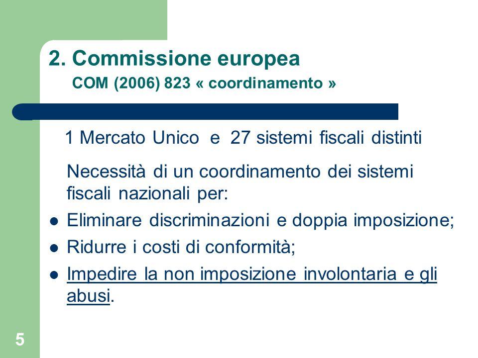 5 2. Commissione europea COM (2006) 823 « coordinamento » 1 Mercato Unico e 27 sistemi fiscali distinti Necessità di un coordinamento dei sistemi fisc