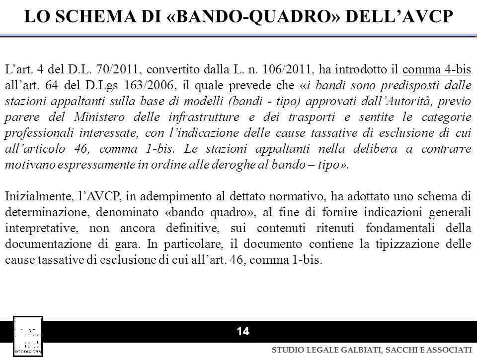 STUDIO LEGALE GALBIATI, SACCHI E ASSOCIATI 14 LO SCHEMA DI «BANDO-QUADRO» DELL'AVCP L'art. 4 del D.L. 70/2011, convertito dalla L. n. 106/2011, ha int