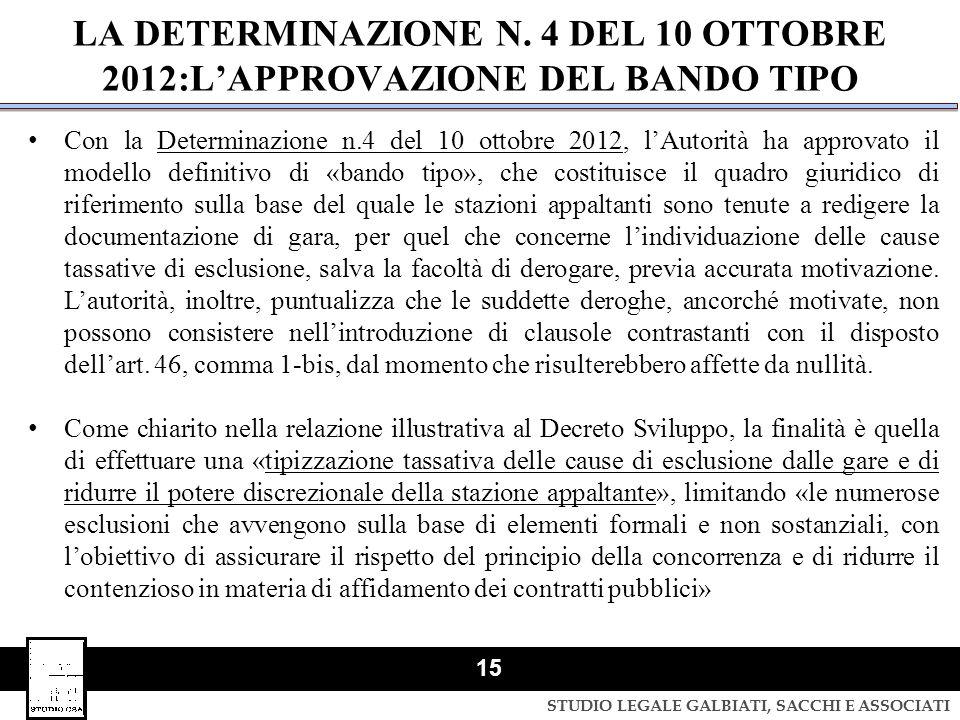STUDIO LEGALE GALBIATI, SACCHI E ASSOCIATI 15 LA DETERMINAZIONE N. 4 DEL 10 OTTOBRE 2012:L'APPROVAZIONE DEL BANDO TIPO Con la Determinazione n.4 del 1