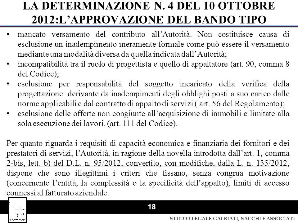 STUDIO LEGALE GALBIATI, SACCHI E ASSOCIATI 18 LA DETERMINAZIONE N. 4 DEL 10 OTTOBRE 2012:L'APPROVAZIONE DEL BANDO TIPO mancato versamento del contribu