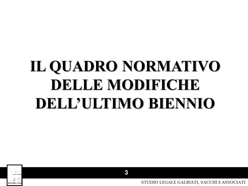 STUDIO LEGALE GALBIATI, SACCHI E ASSOCIATI 4 IL QUADRO NORMATIVO DELLE MODIFICHE DELL'ULTIMO BIENNIO Decreto Legge 13 maggio 2011, n.