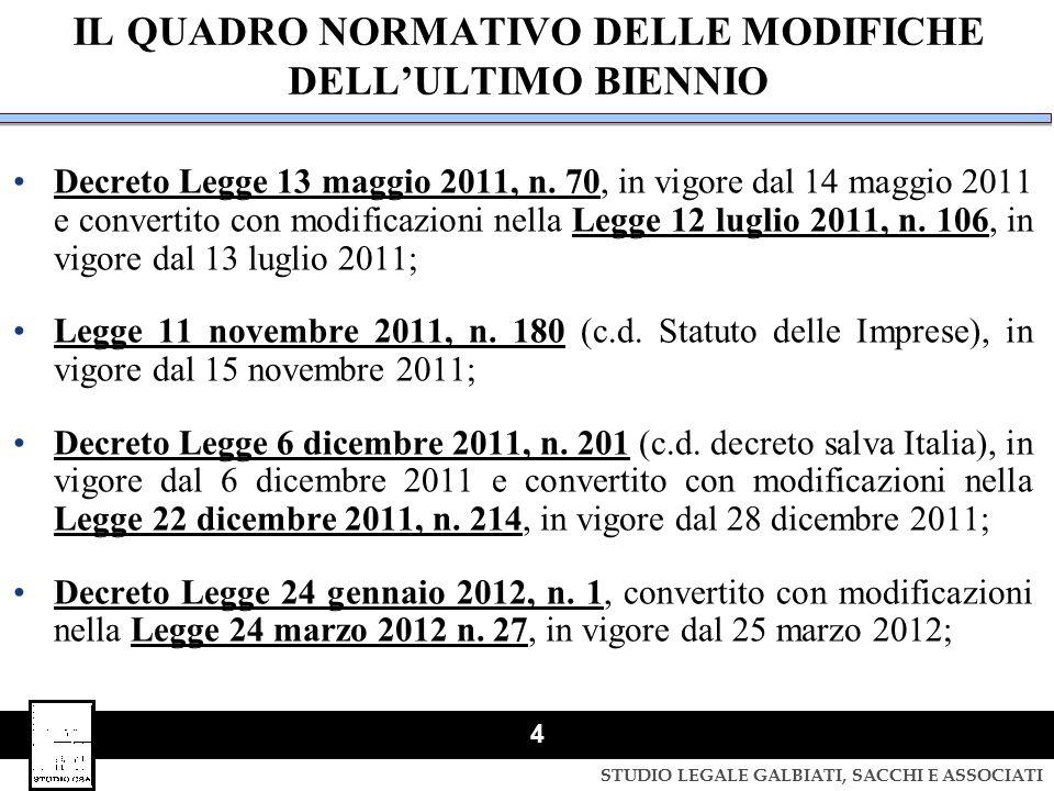 STUDIO LEGALE GALBIATI, SACCHI E ASSOCIATI 4 IL QUADRO NORMATIVO DELLE MODIFICHE DELL'ULTIMO BIENNIO Decreto Legge 13 maggio 2011, n. 70, in vigore da