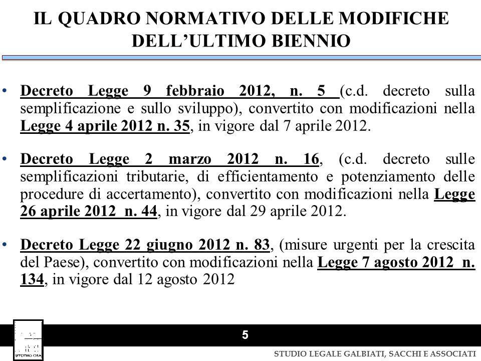 STUDIO LEGALE GALBIATI, SACCHI E ASSOCIATI 5 IL QUADRO NORMATIVO DELLE MODIFICHE DELL'ULTIMO BIENNIO Decreto Legge 9 febbraio 2012, n. 5 (c.d. decreto