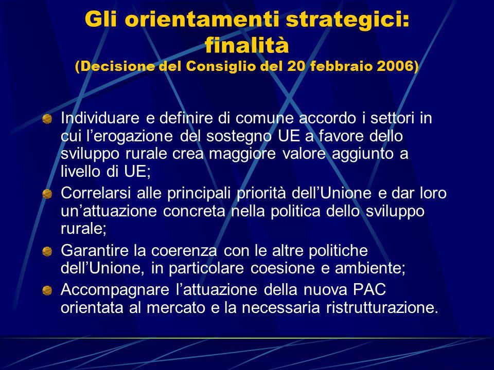 Gli orientamenti strategici: finalità (Decisione del Consiglio del 20 febbraio 2006) Individuare e definire di comune accordo i settori in cui l'erogazione del sostegno UE a favore dello sviluppo rurale crea maggiore valore aggiunto a livello di UE; Correlarsi alle principali priorità dell'Unione e dar loro un'attuazione concreta nella politica dello sviluppo rurale; Garantire la coerenza con le altre politiche dell'Unione, in particolare coesione e ambiente; Accompagnare l'attuazione della nuova PAC orientata al mercato e la necessaria ristrutturazione.