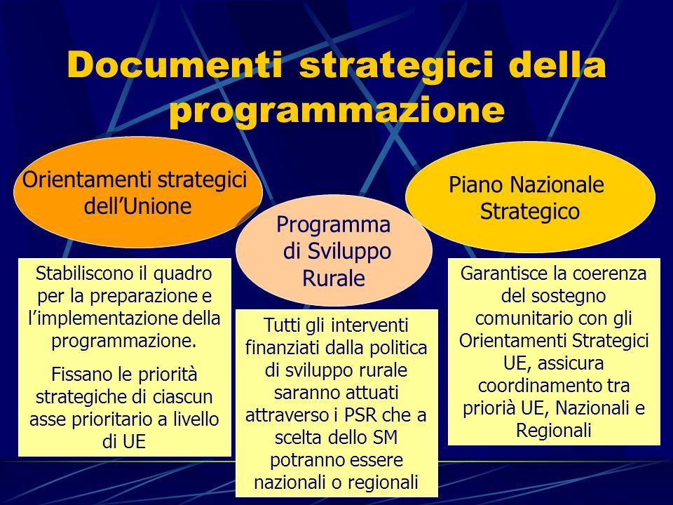 Documenti strategici della programmazione Orientamenti strategici dell'Unione Orientamenti strategici dell'Unione Piano Nazionale Strategico Piano Nazionale Strategico Programma di Sviluppo Rurale Programma di Sviluppo Rurale Stabiliscono il quadro per la preparazione e l'implementazione della programmazione.