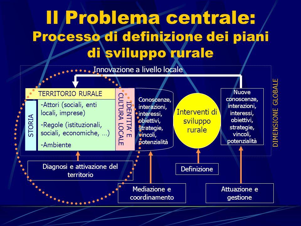 Il Problema centrale: Processo di definizione dei piani di sviluppo rurale -Attori (sociali, enti locali, imprese) -Regole (istituzionali, sociali, economiche, …) -Ambiente STORIA TERRITORIO RURALE IDENTITA' E CULTURA LOCALE Conoscenze, interazioni, interessi, obiettivi, strategie, vincoli, potenzialità Interventi di sviluppo rurale Nuove conoscenze, interazioni, interessi, obiettivi, strategie, vincoli, potenzialità Innovazione a livello locale DIMENSIONE GLOBALE Diagnosi e attivazione del territorio Mediazione e coordinamento Definizione Attuazione e gestione