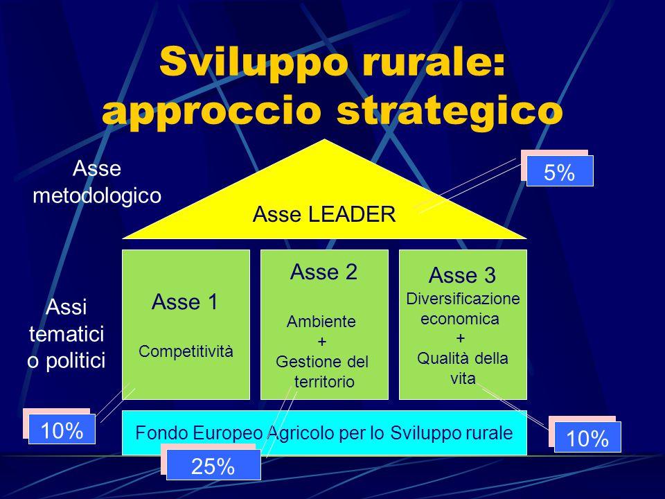Sviluppo rurale: approccio strategico Asse 1 Competitività Asse 2 Ambiente + Gestione del territorio Asse 3 Diversificazione economica + Qualità della vita Asse LEADER Fondo Europeo Agricolo per lo Sviluppo rurale Assi tematici o politici Asse metodologico 10% 25% 10% 5%
