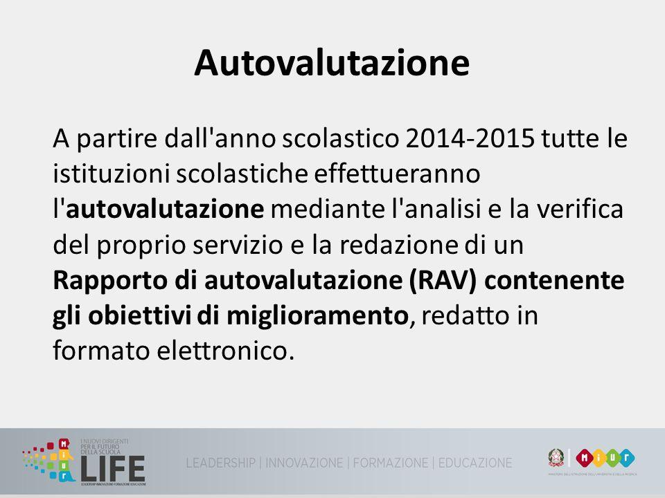 Autovalutazione A partire dall'anno scolastico 2014-2015 tutte le istituzioni scolastiche effettueranno l'autovalutazione mediante l'analisi e la veri