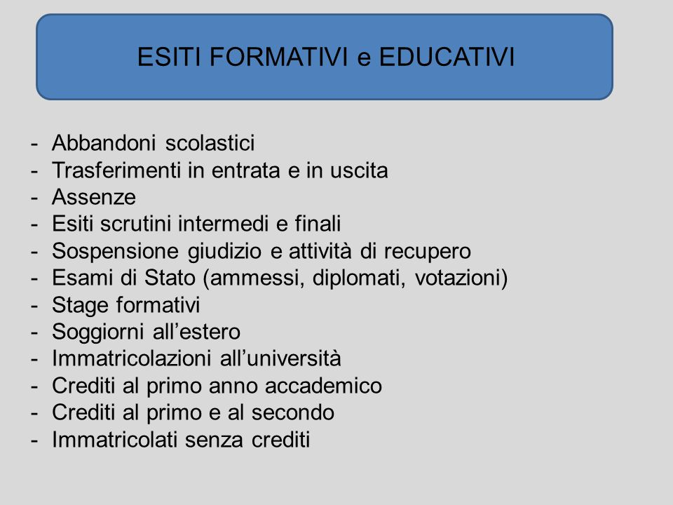 ESITI FORMATIVI e EDUCATIVI -Abbandoni scolastici -Trasferimenti in entrata e in uscita -Assenze -Esiti scrutini intermedi e finali -Sospensione giudi