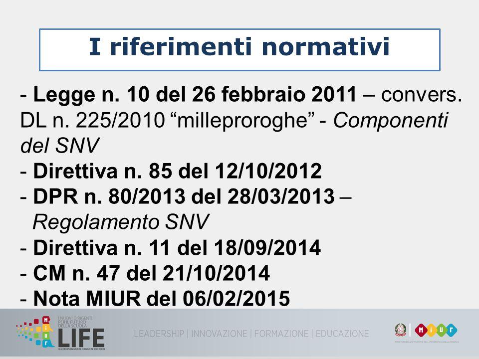 """I riferimenti normativi - Legge n. 10 del 26 febbraio 2011 – convers. DL n. 225/2010 """"milleproroghe"""" - Componenti del SNV - Direttiva n. 85 del 12/10/"""