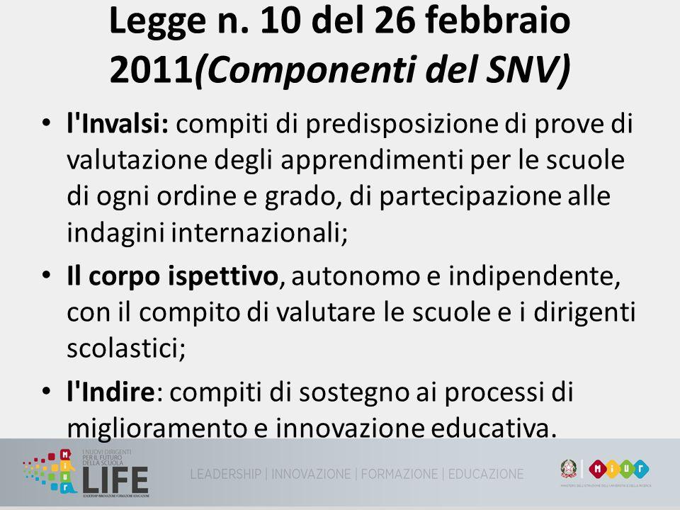Legge n. 10 del 26 febbraio 2011(Componenti del SNV) l'Invalsi: compiti di predisposizione di prove di valutazione degli apprendimenti per le scuole d