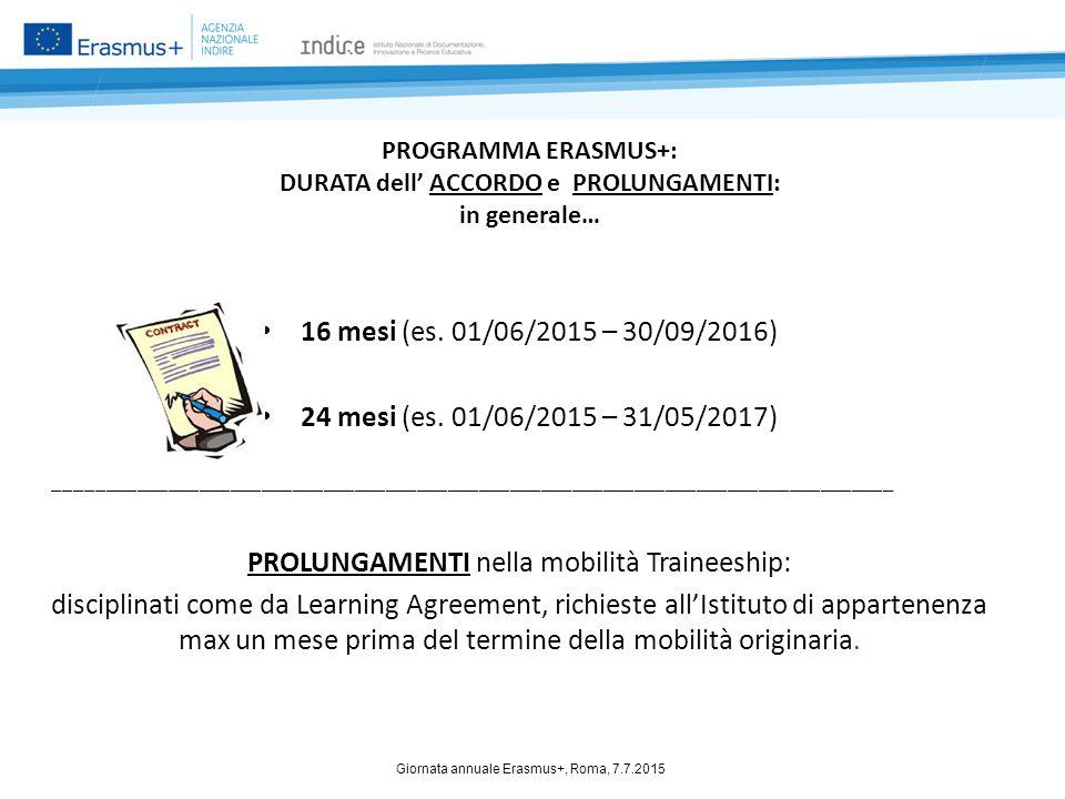 PROGRAMMA ERASMUS+: DURATA dell' ACCORDO e PROLUNGAMENTI: in generale… 16 mesi (es. 01/06/2015 – 30/09/2016) 24 mesi (es. 01/06/2015 – 31/05/2017) ___