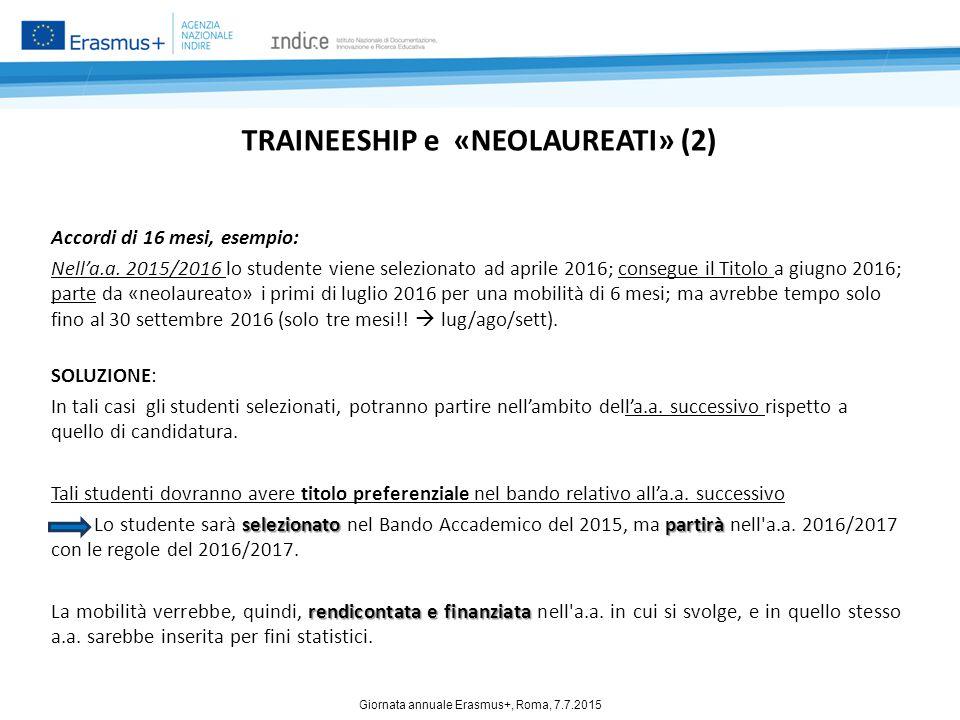 TRAINEESHIP e «NEOLAUREATI» (2) Accordi di 16 mesi, esempio: Nell'a.a. 2015/2016 lo studente viene selezionato ad aprile 2016; consegue il Titolo a gi