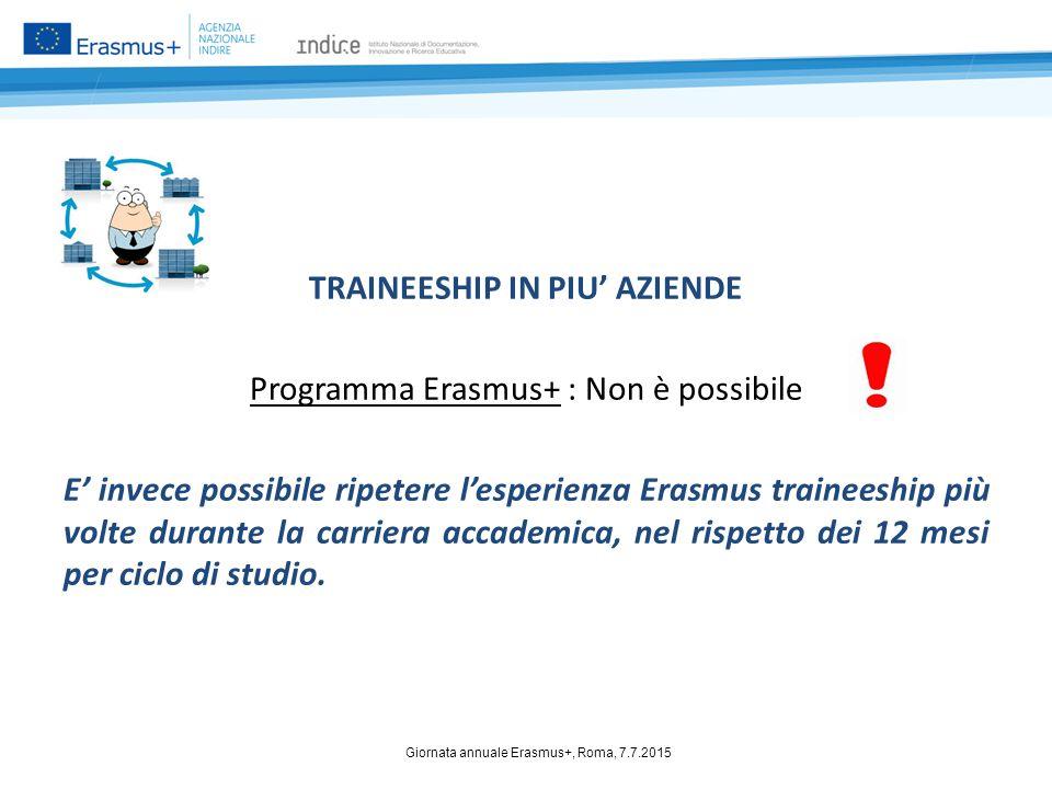 TRAINEESHIP IN PIU' AZIENDE Programma Erasmus+ : Non è possibile E' invece possibile ripetere l'esperienza Erasmus traineeship più volte durante la ca