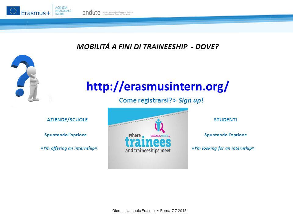 MOBILITÁ A FINI DI TRAINEESHIP - DOVE? http://erasmusintern.org/ Come registrarsi? > Sign up! AZIENDE/SCUOLE STUDENTI Spuntando l'opzione Spuntando l'