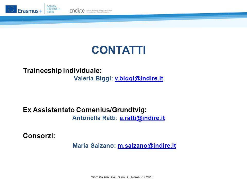 CONTATTI Traineeship individuale: Valeria Biggi: v.biggi@indire.itv.biggi@indire.it Ex Assistentato Comenius/Grundtvig: Antonella Ratti: a.ratti@indir