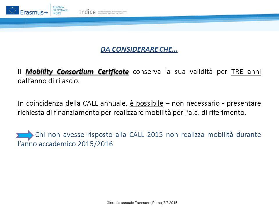 DA CONSIDERARE CHE… Mobility Consortium Certficate ll Mobility Consortium Certficate conserva la sua validità per TRE anni dall'anno di rilascio. In c