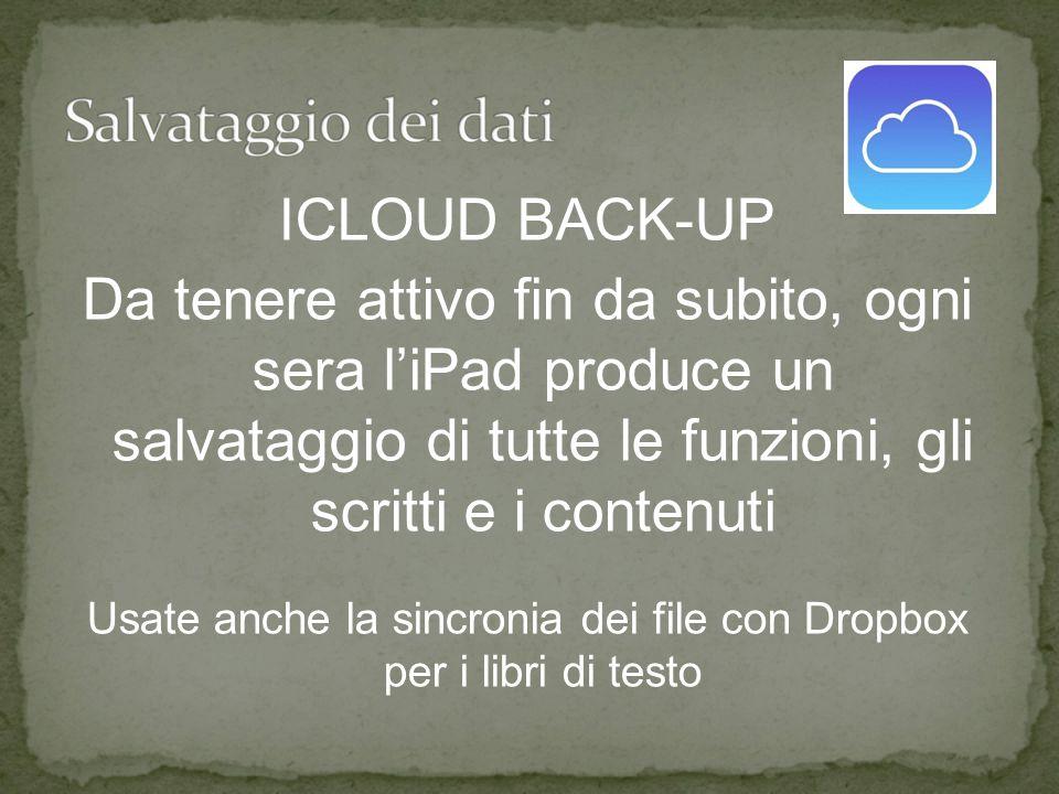 ICLOUD BACK-UP Da tenere attivo fin da subito, ogni sera l'iPad produce un salvataggio di tutte le funzioni, gli scritti e i contenuti Usate anche la sincronia dei file con Dropbox per i libri di testo