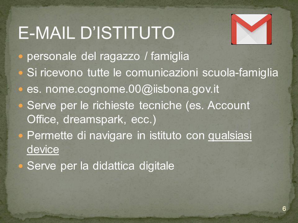 E-MAIL D'ISTITUTO personale del ragazzo / famiglia Si ricevono tutte le comunicazioni scuola-famiglia es.