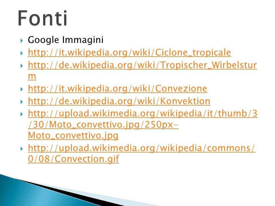  Google Immagini  http://it.wikipedia.org/wiki/Ciclone_tropicale http://it.wikipedia.org/wiki/Ciclone_tropicale  http://de.wikipedia.org/wiki/Tropischer_Wirbelstur m http://de.wikipedia.org/wiki/Tropischer_Wirbelstur m  http://it.wikipedia.org/wiki/Convezione http://it.wikipedia.org/wiki/Convezione  http://de.wikipedia.org/wiki/Konvektion http://de.wikipedia.org/wiki/Konvektion  http://upload.wikimedia.org/wikipedia/it/thumb/3 /30/Moto_convettivo.jpg/250px- Moto_convettivo.jpg http://upload.wikimedia.org/wikipedia/it/thumb/3 /30/Moto_convettivo.jpg/250px- Moto_convettivo.jpg  http://upload.wikimedia.org/wikipedia/commons/ 0/08/Convection.gif http://upload.wikimedia.org/wikipedia/commons/ 0/08/Convection.gif